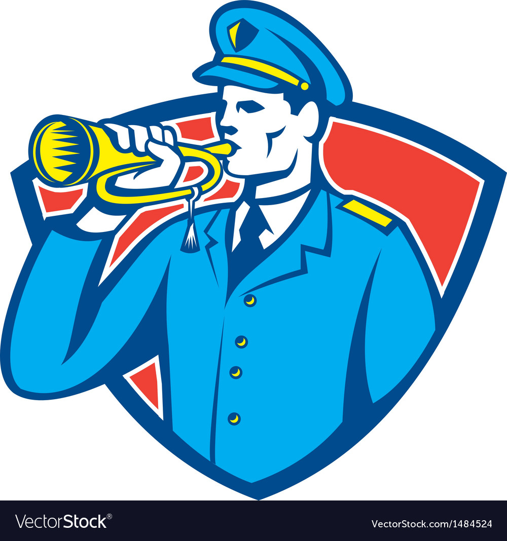 Soldier blowing bugle crest vector | Price: 1 Credit (USD $1)