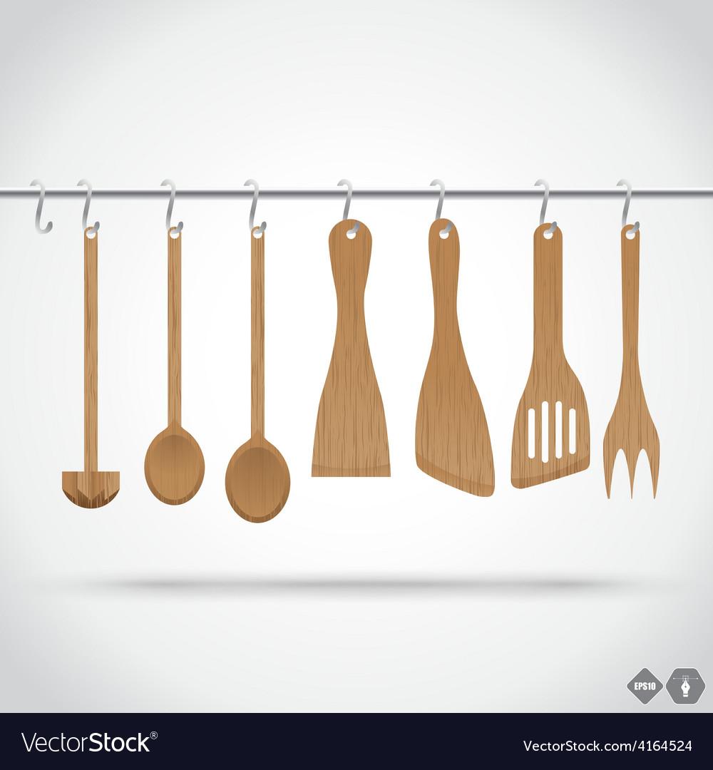 Wooden utensils vector