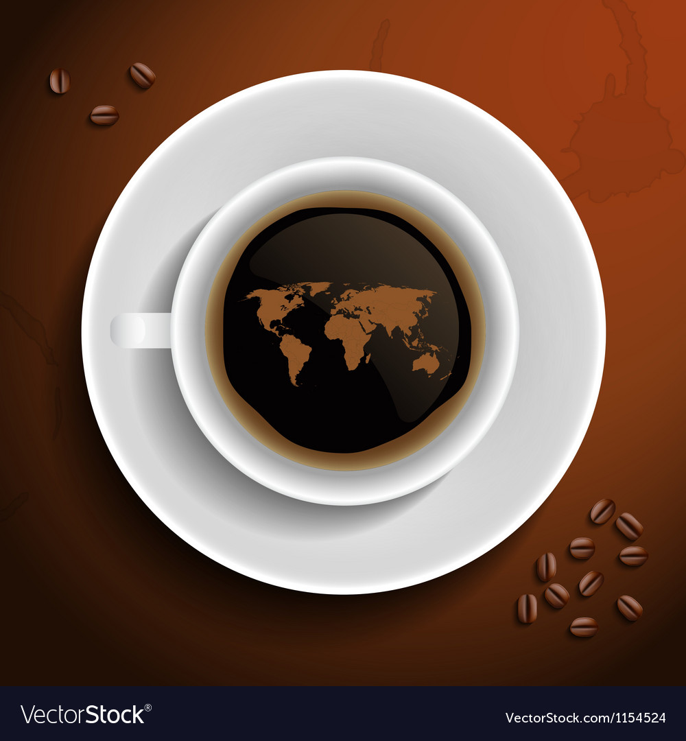 World map in coffee cup vector | Price: 1 Credit (USD $1)