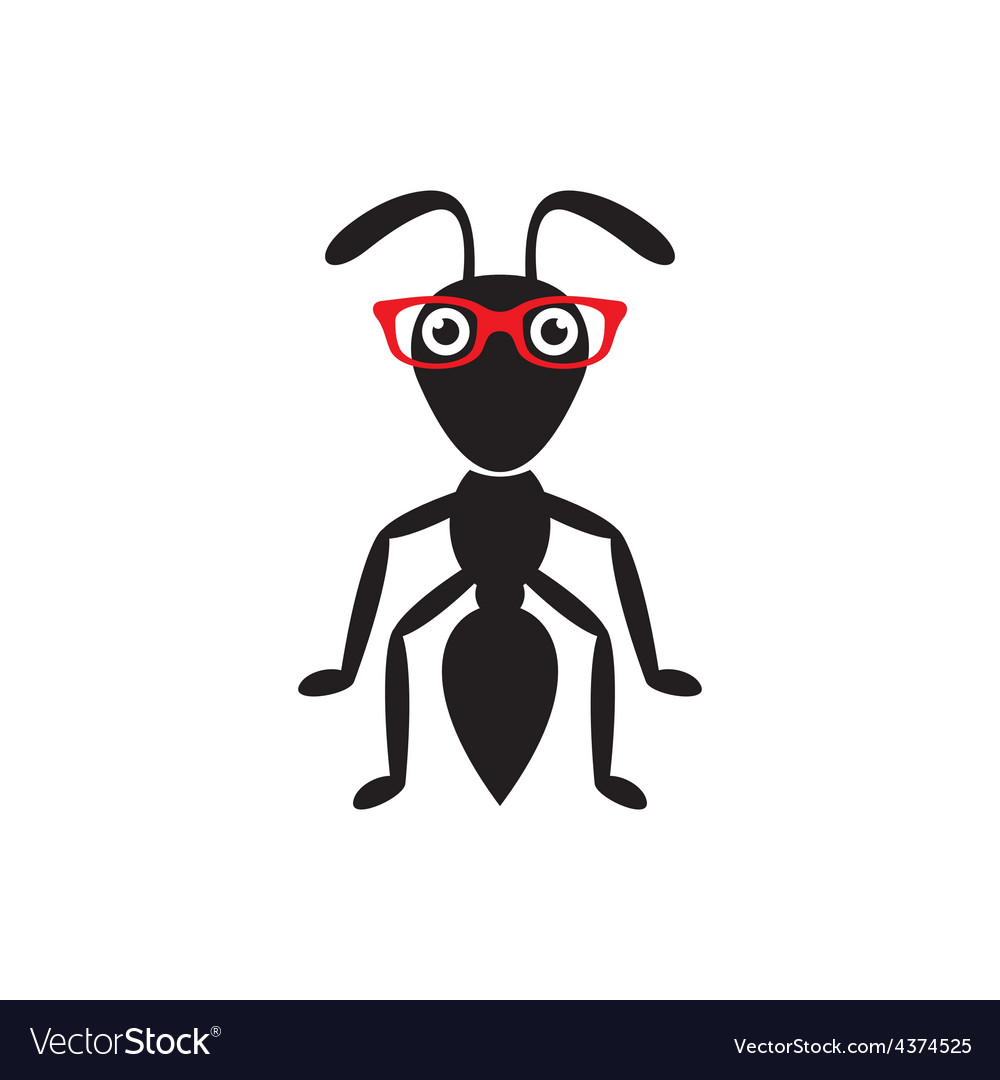 Black ant with glasses vector | Price: 1 Credit (USD $1)