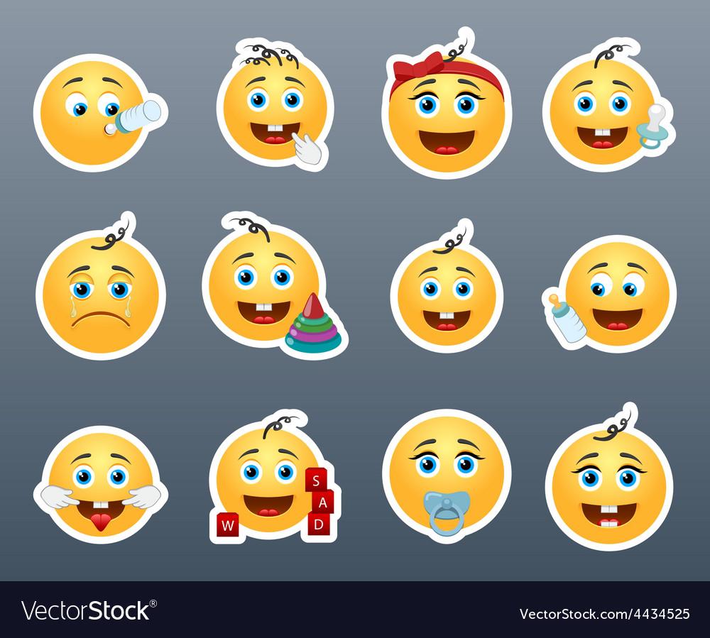 Cute kids smilies vector | Price: 1 Credit (USD $1)