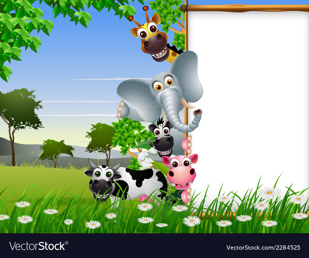 Funny animal cartoon collection with blank sign an vector | Price: 3 Credit (USD $3)