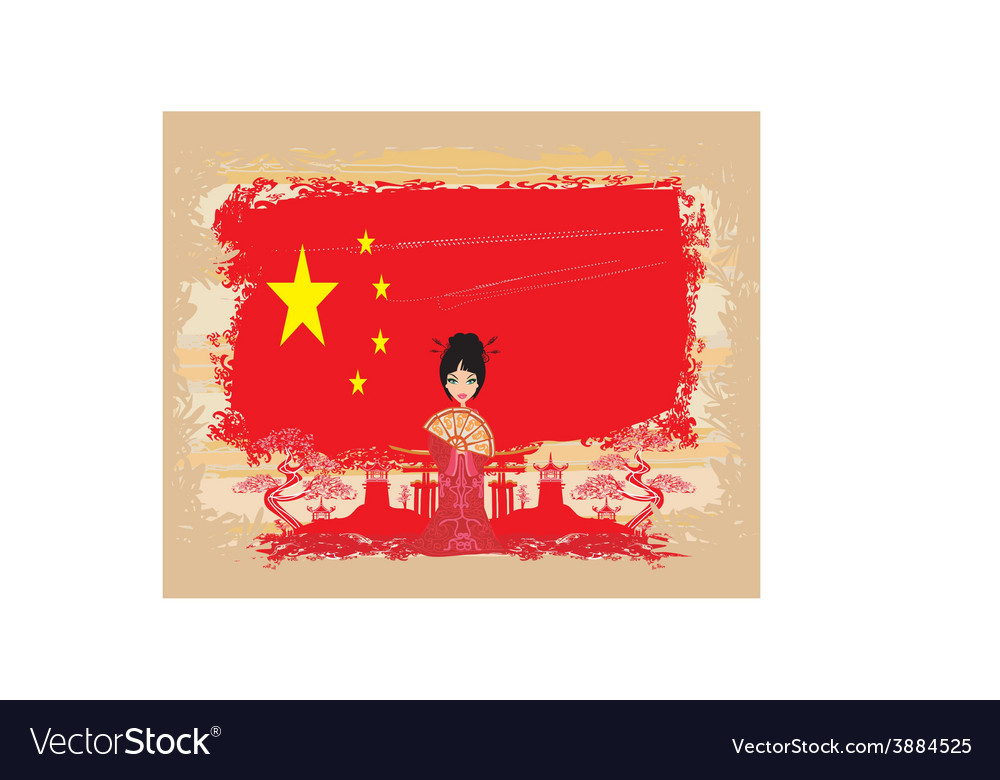 Grunge abstract landscape with asian girl and flag vector | Price: 1 Credit (USD $1)