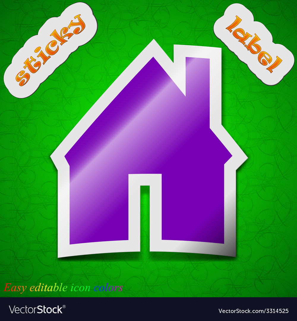 Home icon sign symbol chic colored sticky label on vector | Price: 1 Credit (USD $1)