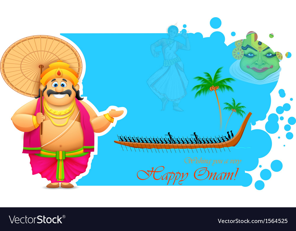 King mahabali enjoying boat race of kerla vector | Price: 1 Credit (USD $1)
