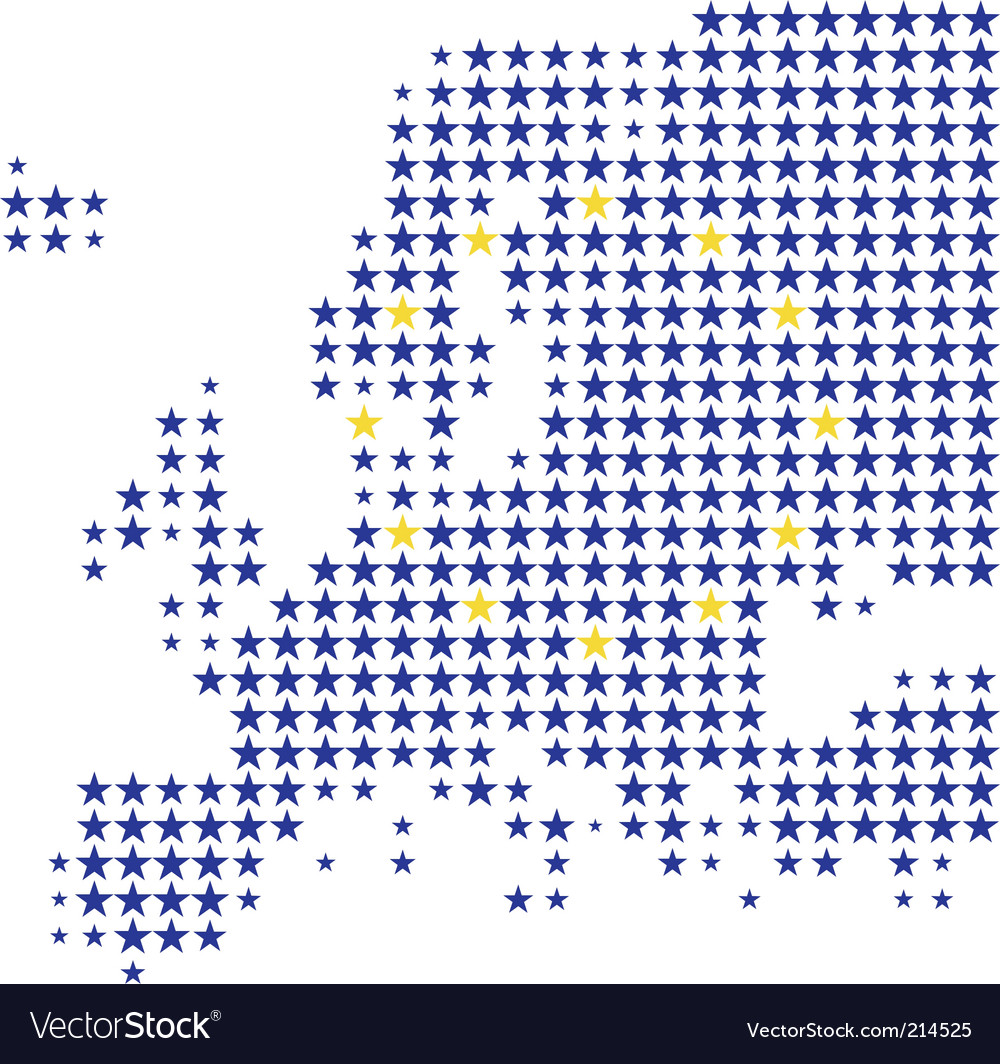 Map and flag of europe vector | Price: 1 Credit (USD $1)
