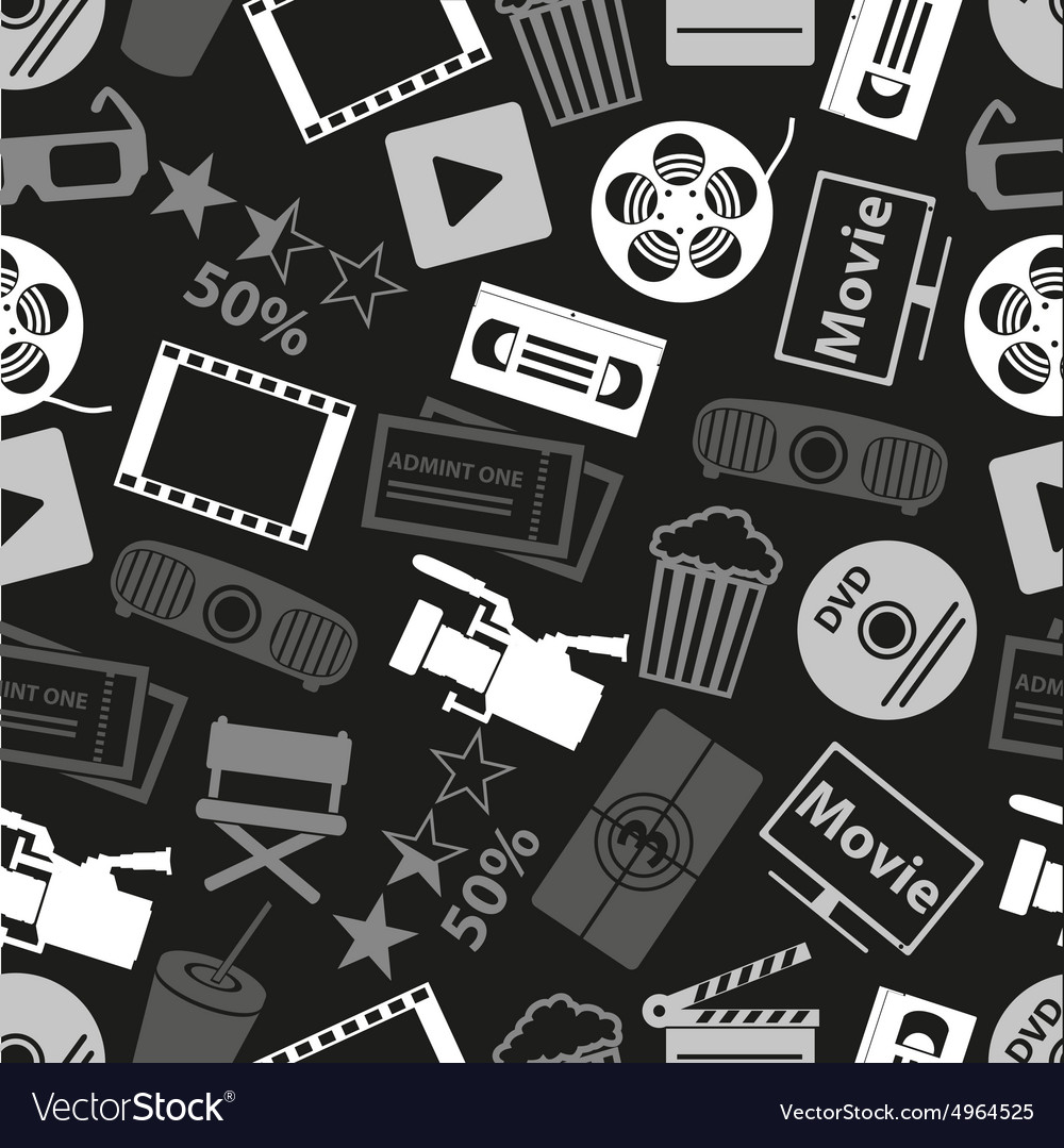 Movie and cinema icons seamless dark pattern eps10 vector