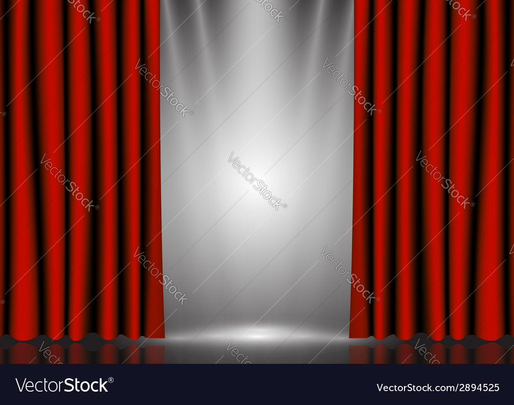 Red curtains on lighting stage vector | Price: 1 Credit (USD $1)