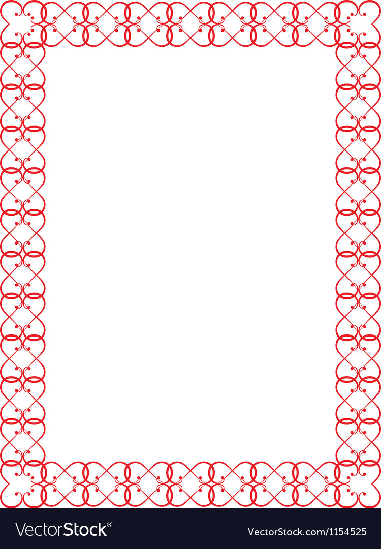 Red valentines day border vector | Price: 1 Credit (USD $1)