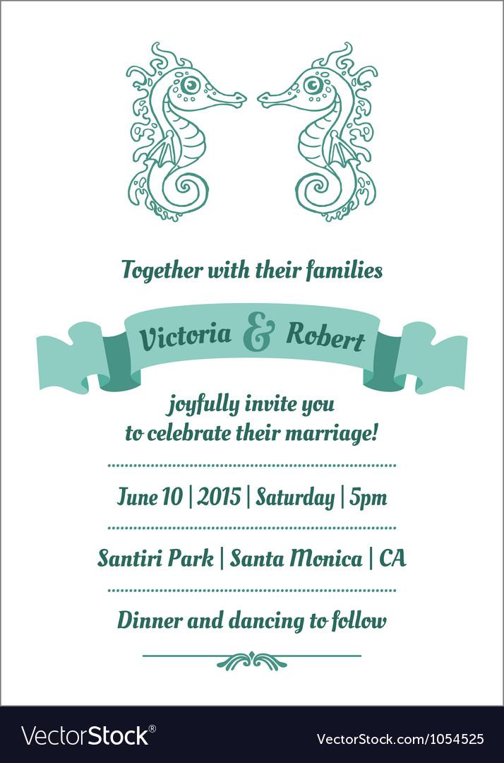 Wedding marine invitation card vector | Price: 1 Credit (USD $1)
