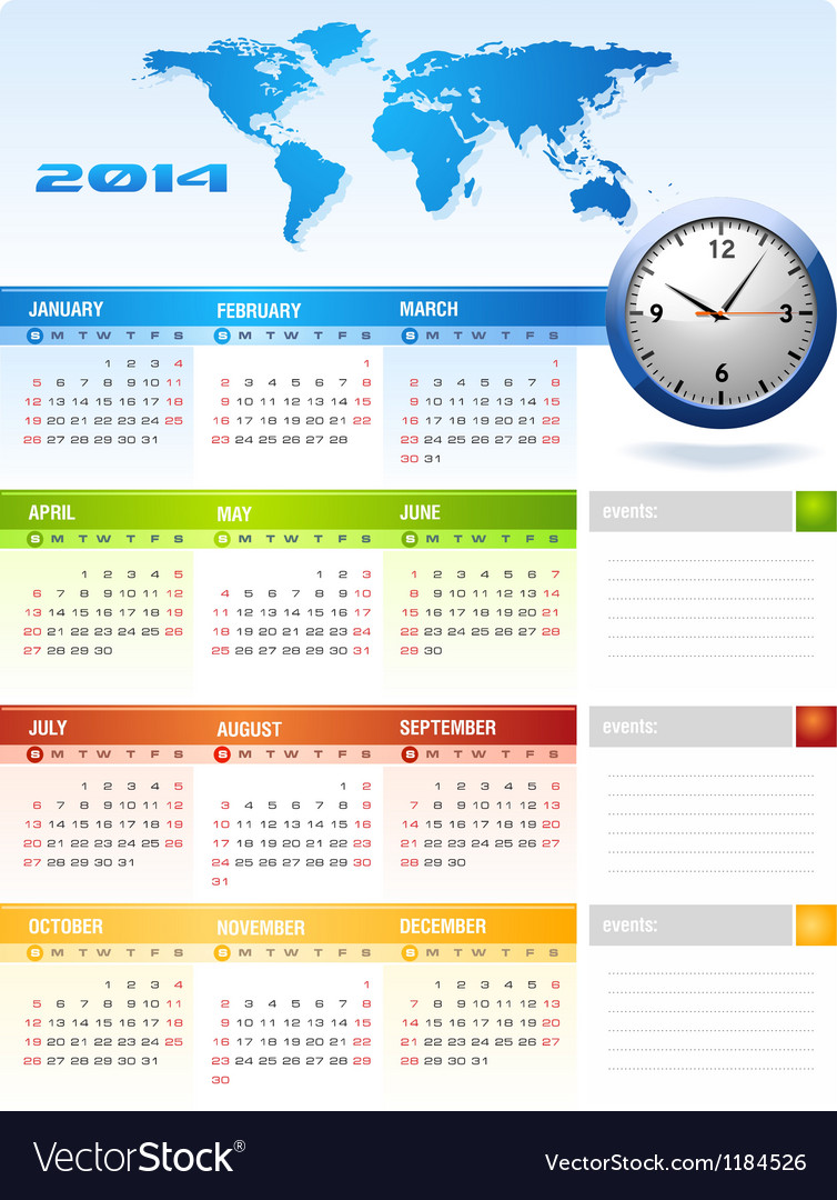 2014 colourful corporate global office calendar vector | Price: 1 Credit (USD $1)