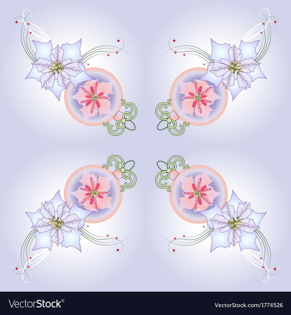 Blue pattern with poinsettia and balls vector | Price: 1 Credit (USD $1)