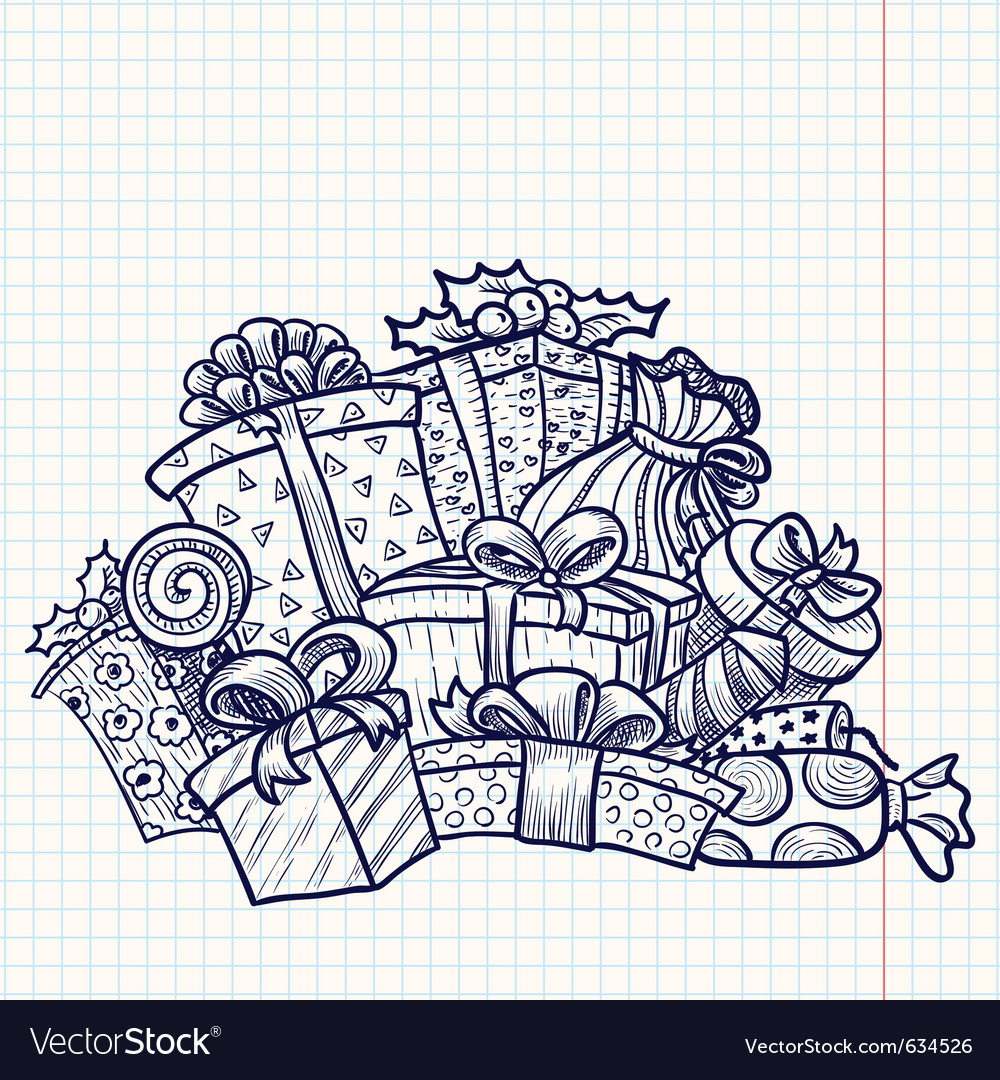Doodle christmas gifts vector | Price: 1 Credit (USD $1)