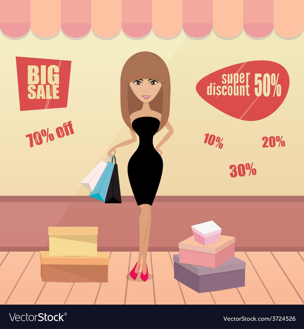 Girl or woman on shopping sale hold bags retro vector | Price: 1 Credit (USD $1)