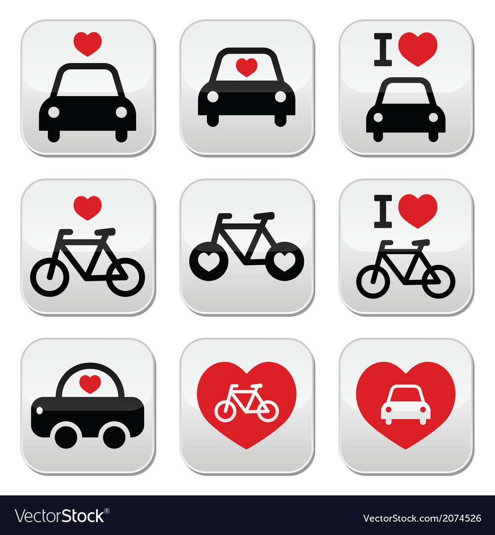 I love cars and bikes buttons set vector | Price: 1 Credit (USD $1)
