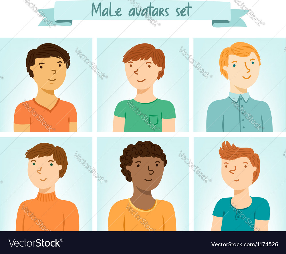 Male avatars set vector | Price: 3 Credit (USD $3)