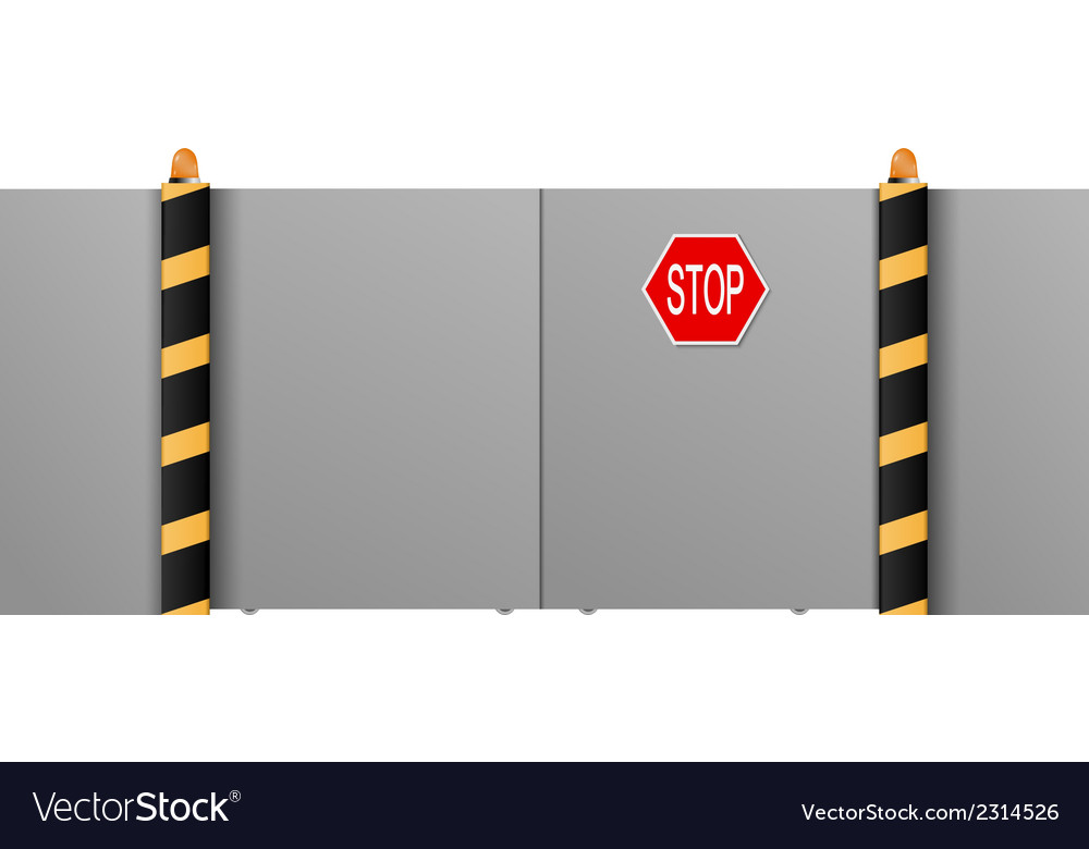Metal gate with a stop on a white background vector | Price: 1 Credit (USD $1)