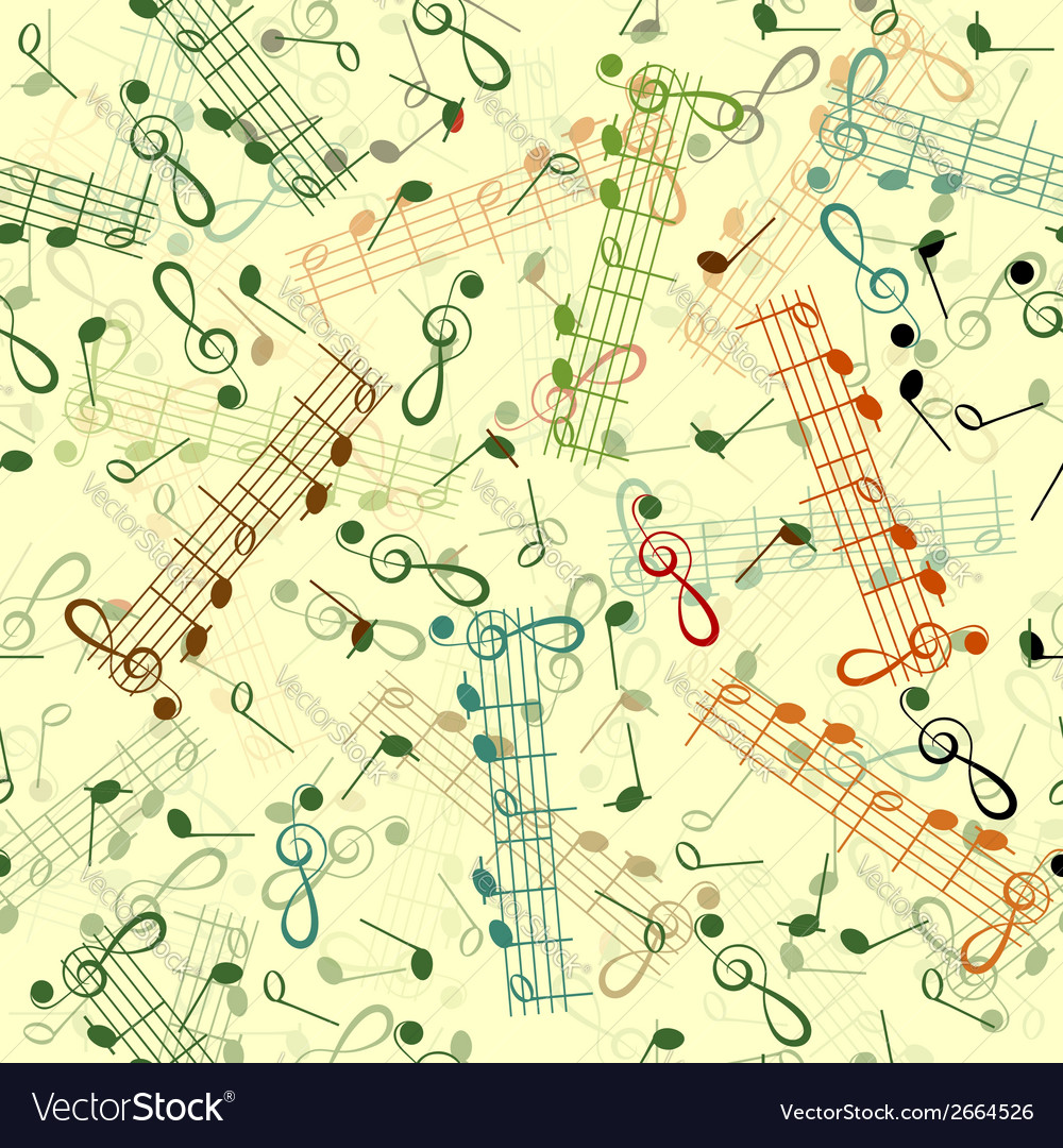 Music notation repeating pattern on a yellow vector | Price: 1 Credit (USD $1)