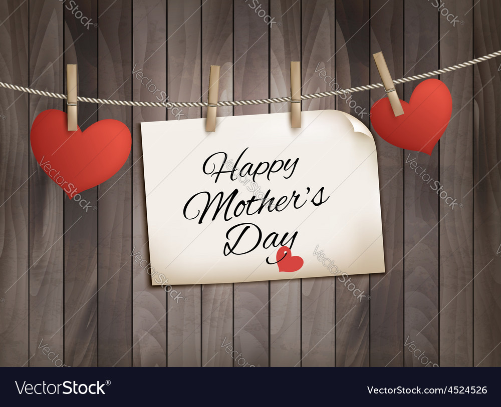 Retro holiday mother day background with red paper vector | Price: 1 Credit (USD $1)