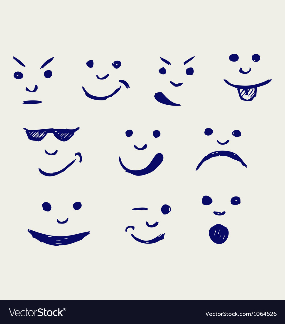 Set of smileys vector | Price: 1 Credit (USD $1)