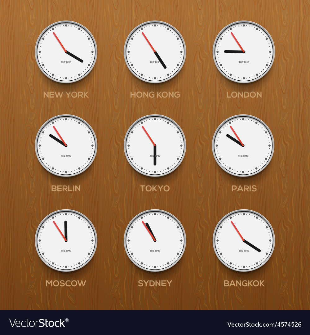 Timezone clocks showing different time wooden vector | Price: 1 Credit (USD $1)