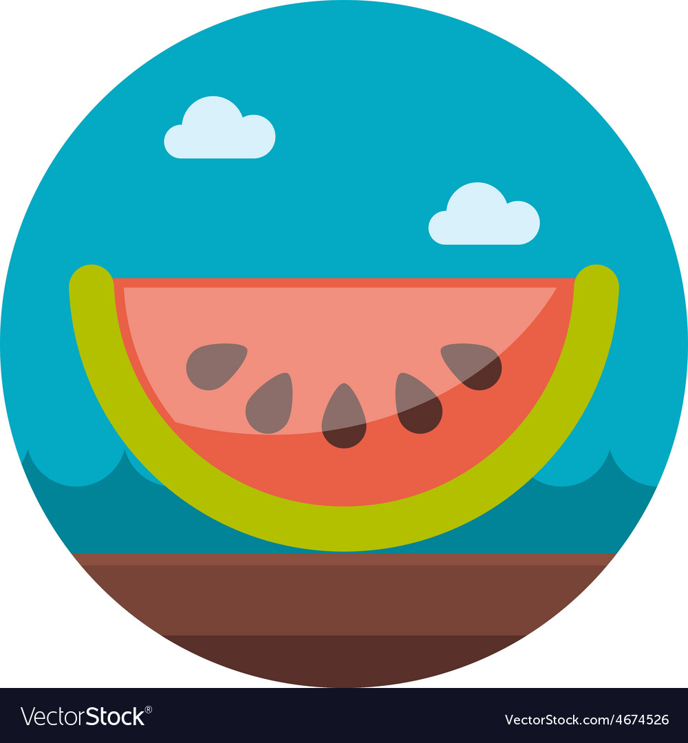 Watermelon slice flat icon with long shadow vector | Price: 1 Credit (USD $1)