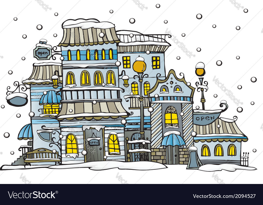 Cartoon city coated by snow vector | Price: 1 Credit (USD $1)
