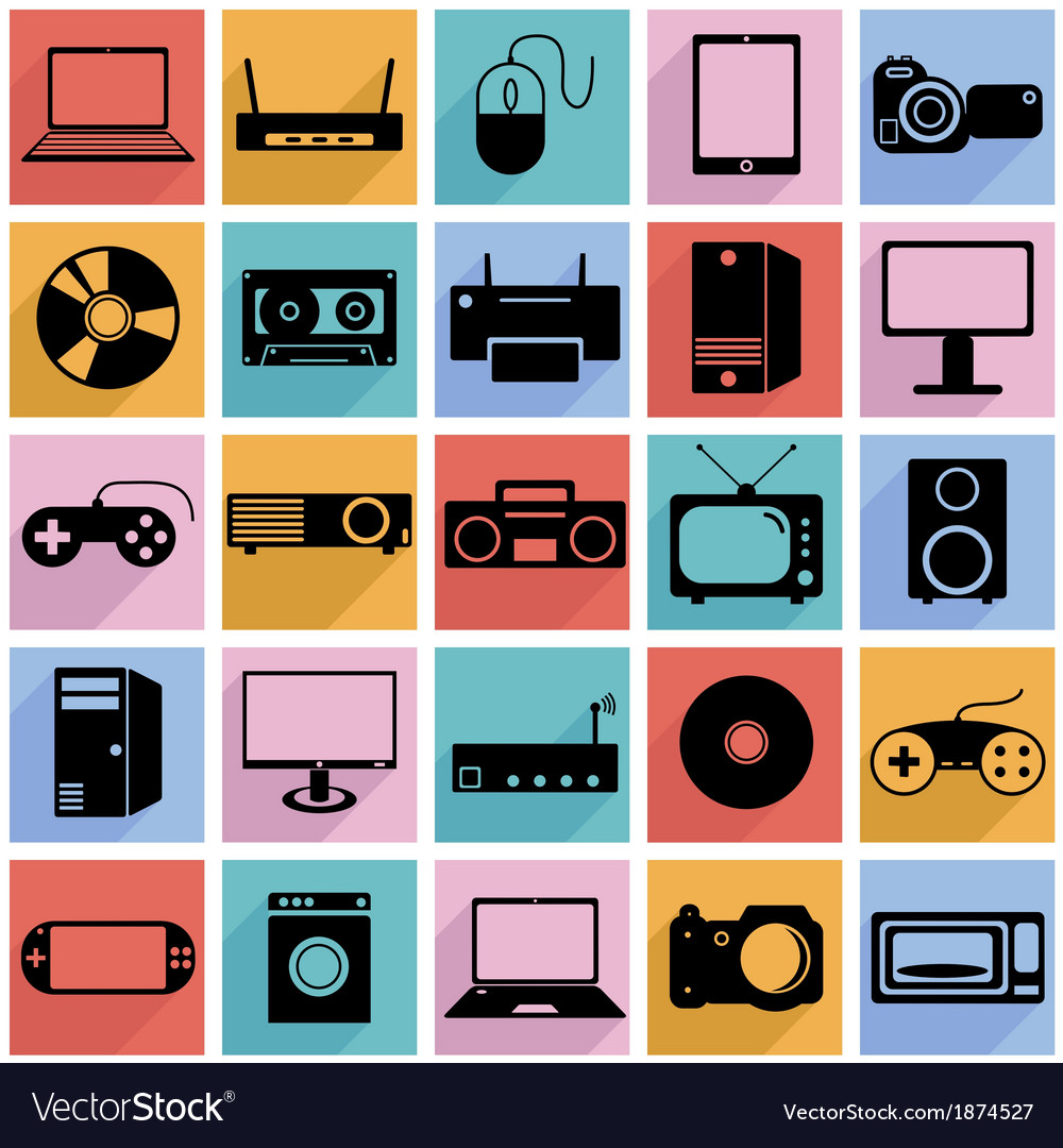 Collection flat icons with long shadow eectronic vector | Price: 1 Credit (USD $1)