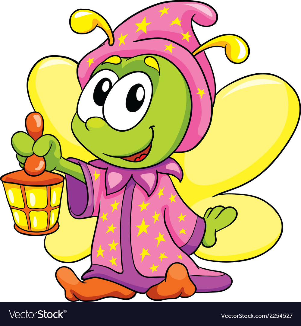 Firefly in pajamas on white background vector | Price: 1 Credit (USD $1)