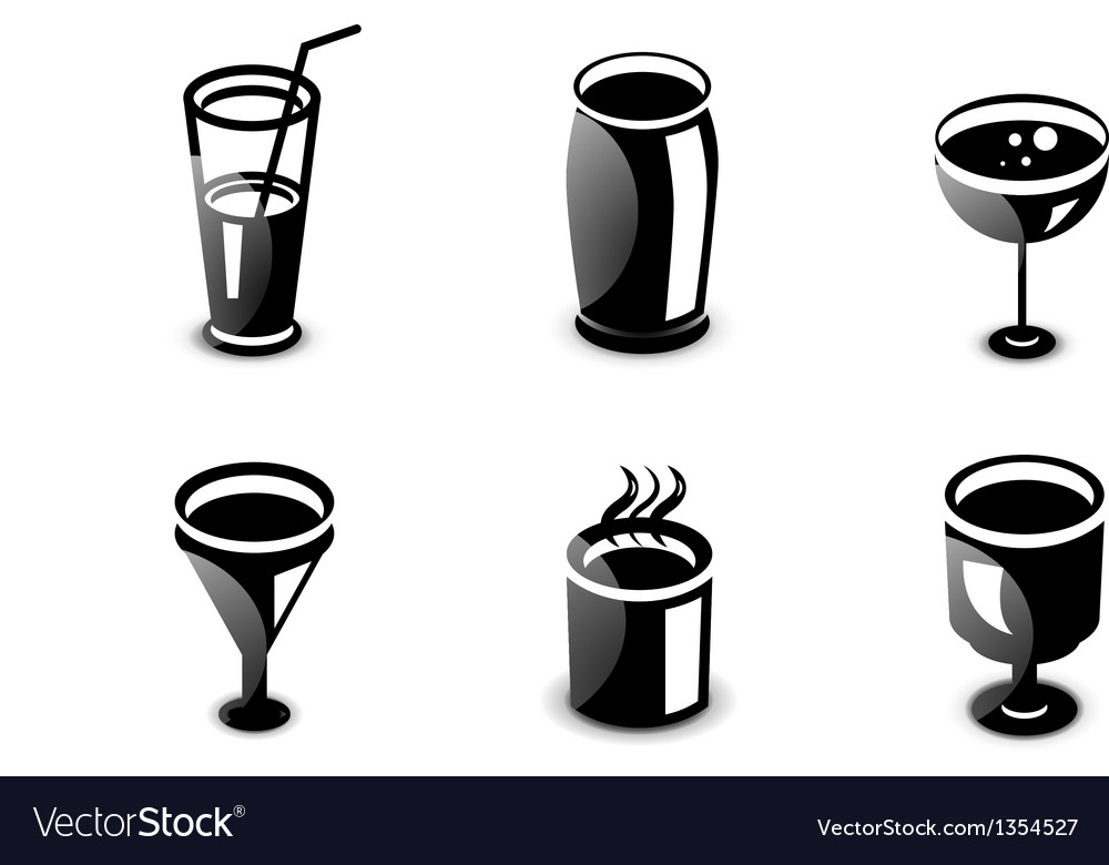 Glossy drinks and beverages icon set vector | Price: 1 Credit (USD $1)