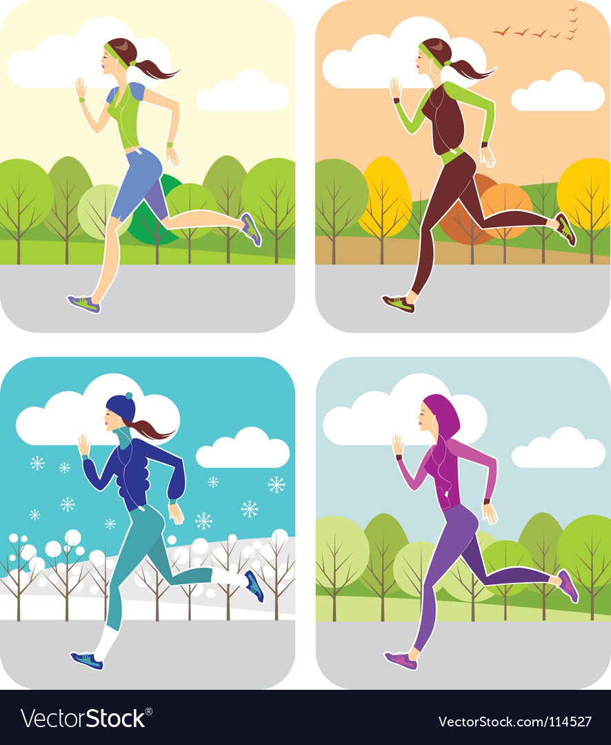 Jogging all the year round vector | Price: 3 Credit (USD $3)