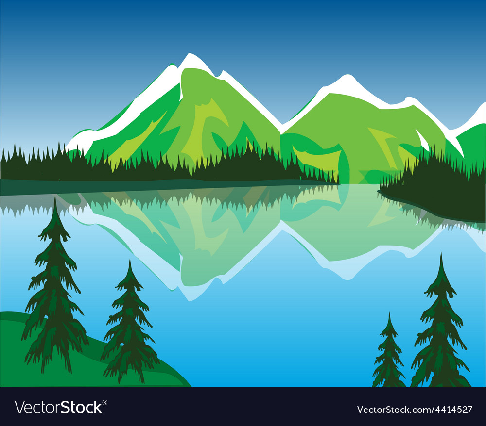 Lake in mountains vector | Price: 3 Credit (USD $3)