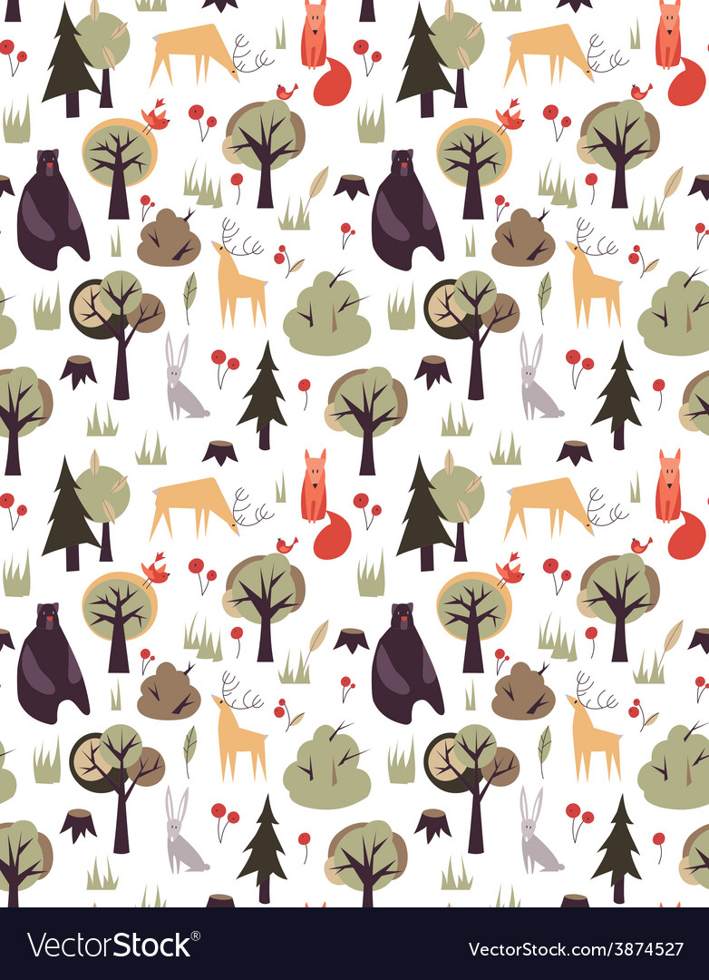 Pattern with animals and trees vector | Price: 1 Credit (USD $1)
