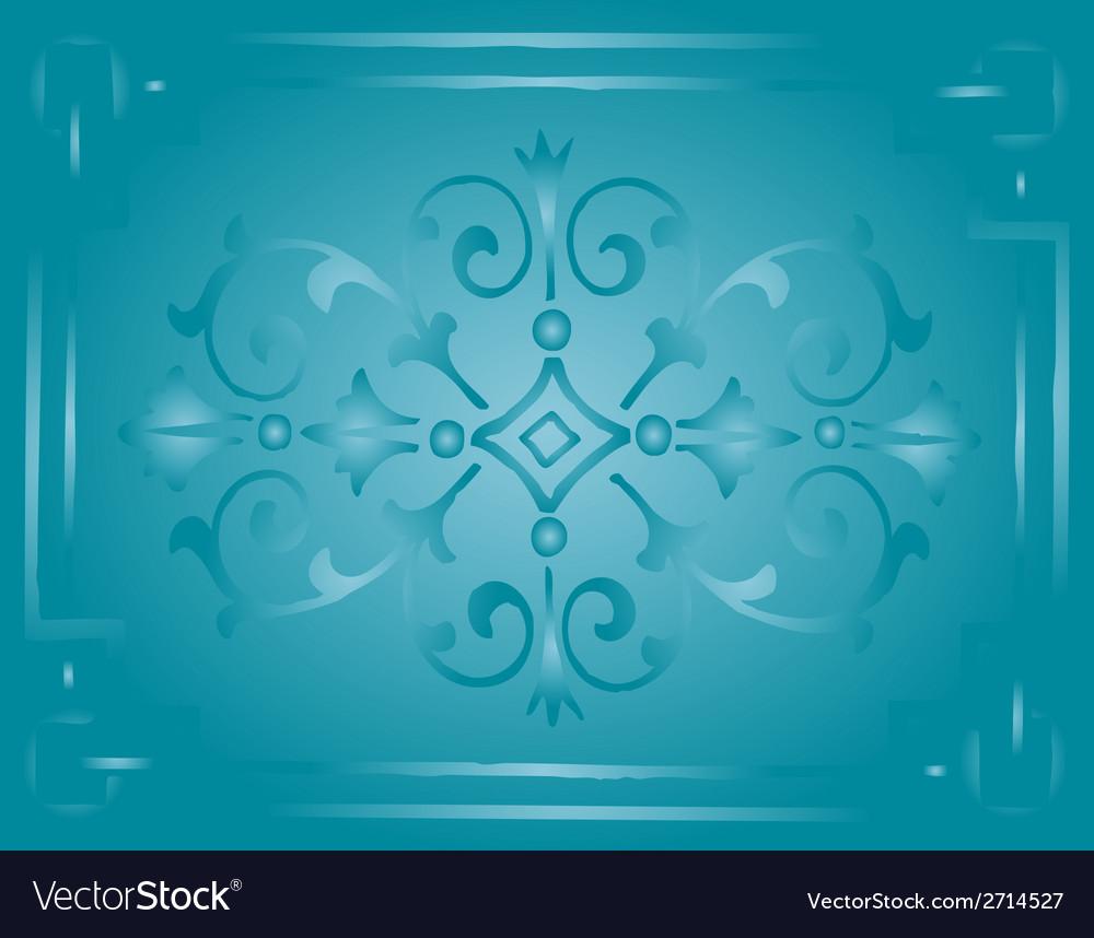 Vintage blue background design with border vector
