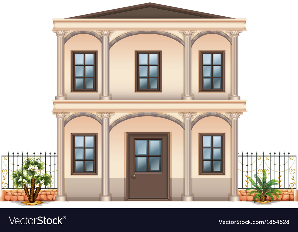 A two-story single detached building vector | Price: 1 Credit (USD $1)