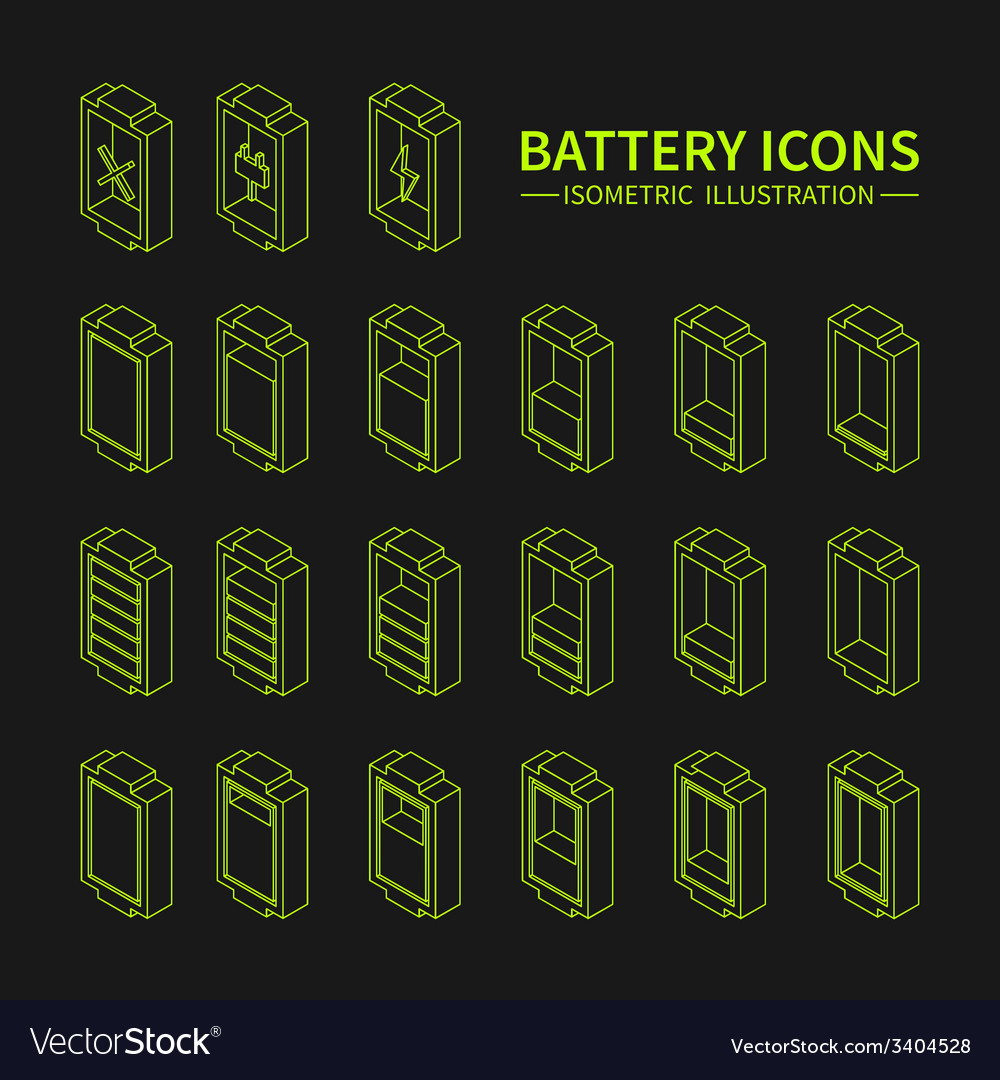 Battery web line icons symbol sign and design vector | Price: 1 Credit (USD $1)