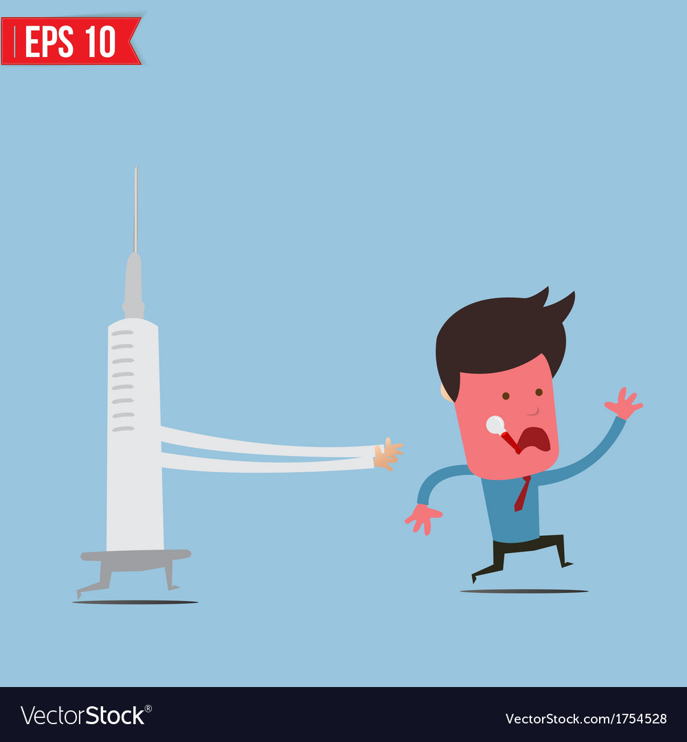 Cartoon syringe run chase patient - - eps10 vector | Price: 1 Credit (USD $1)