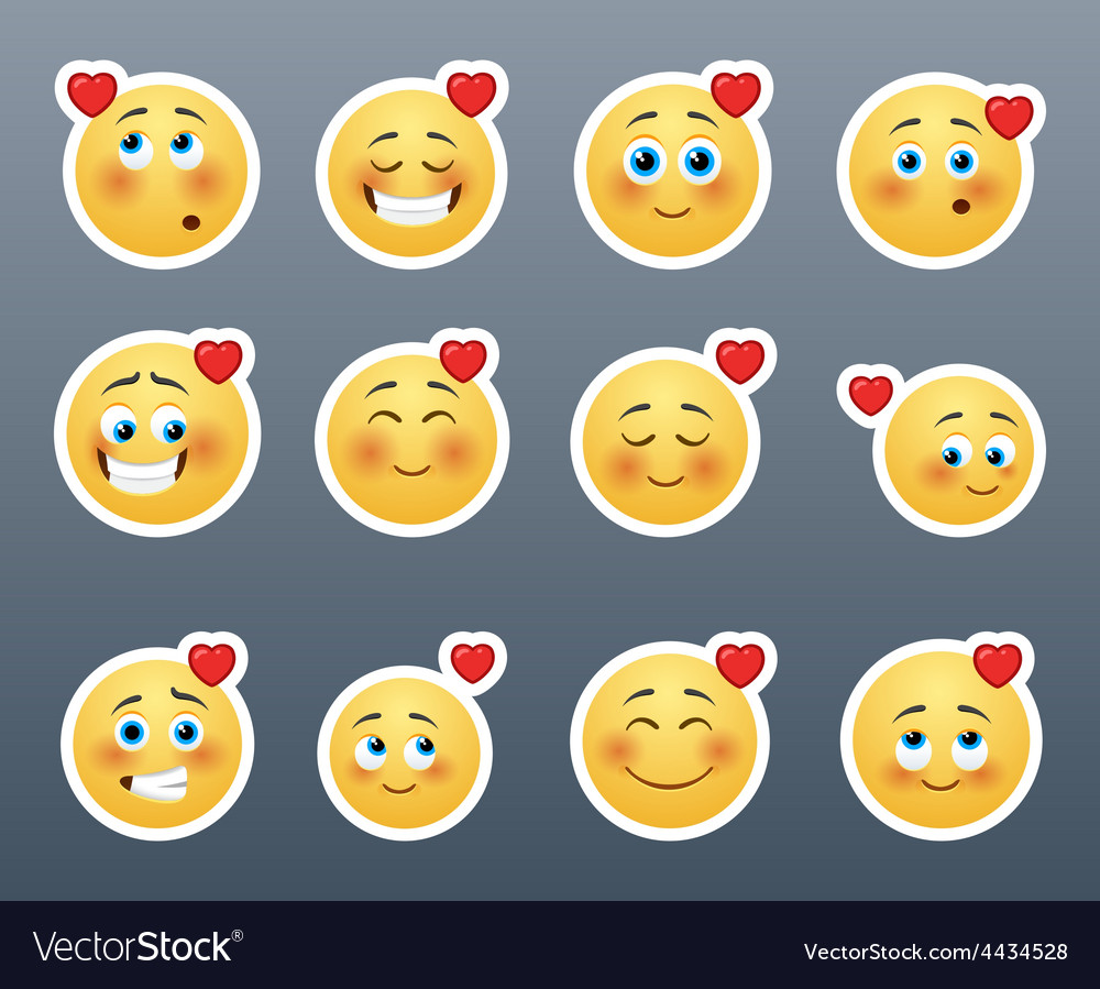 Cute smiles with hearts vector   Price: 1 Credit (USD $1)