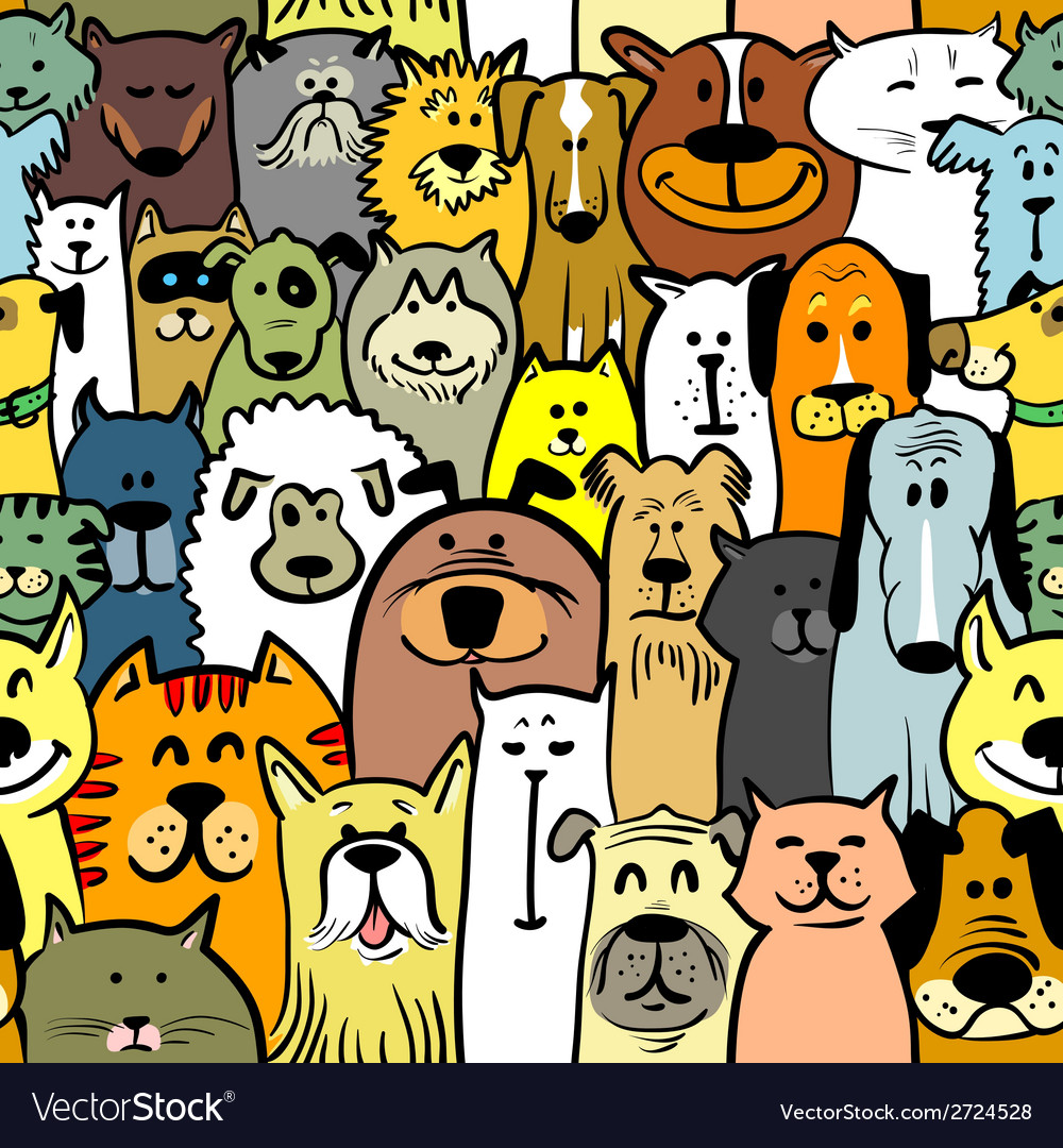Dogs and cats seamless vector | Price: 1 Credit (USD $1)