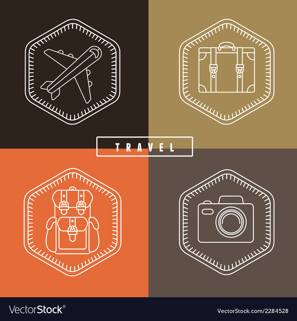 Flat travel badges in outline style vector | Price: 1 Credit (USD $1)