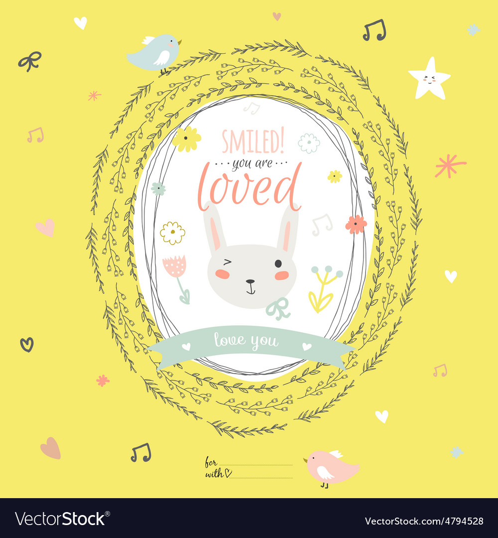 Lovely card with greeting wish and cute bunny in a vector | Price: 1 Credit (USD $1)