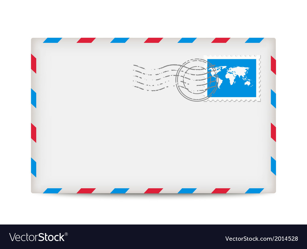 Postage envelope with stamp vector | Price: 1 Credit (USD $1)