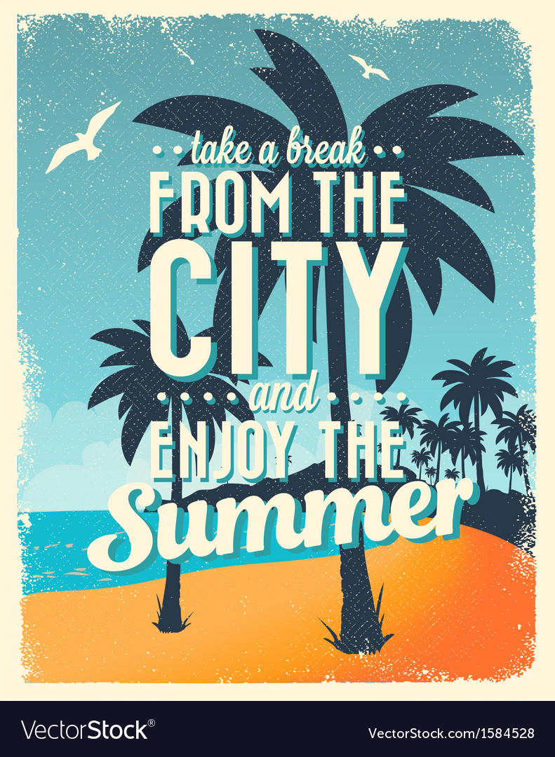 Retro vintage summer poster design with typography vector | Price: 1 Credit (USD $1)