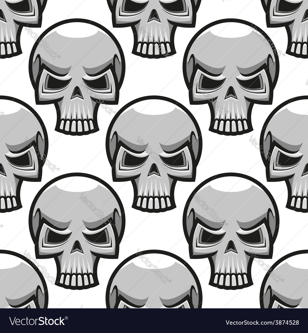 Seamless skulls pattern in cartoon style vector | Price: 1 Credit (USD $1)