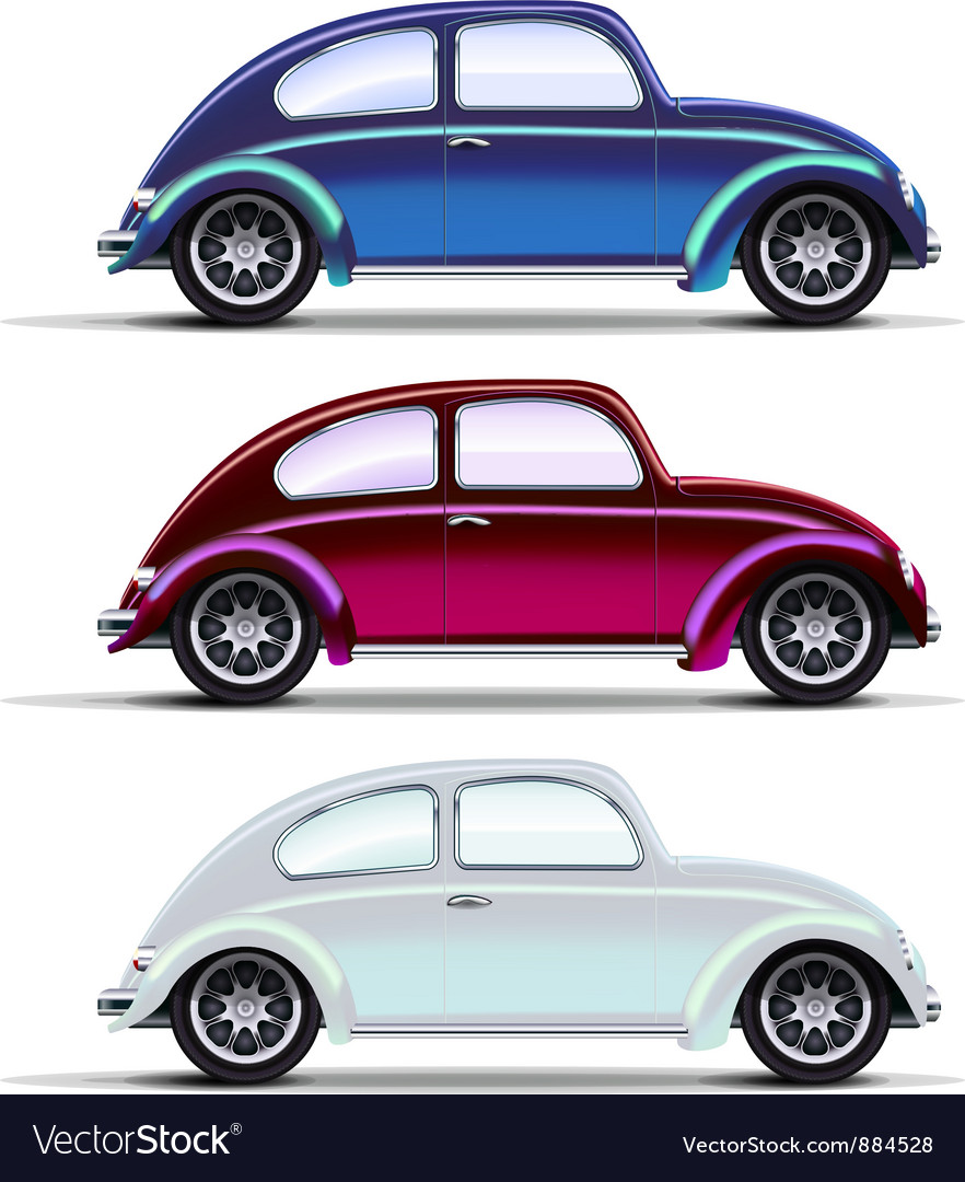 Set of multicolored old cars vector | Price: 3 Credit (USD $3)