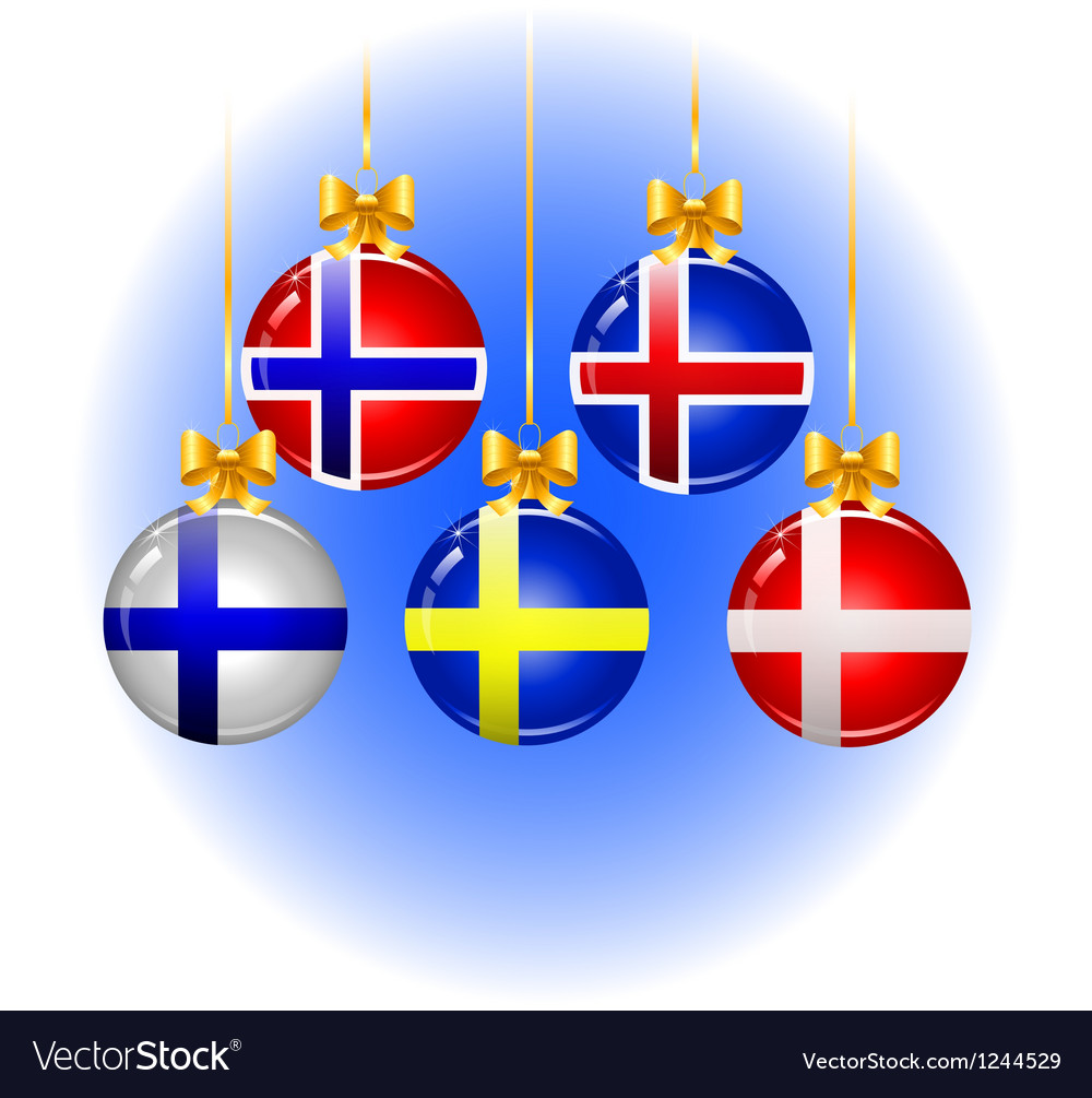 Christmas balls with flags of the scandinavian vector | Price: 1 Credit (USD $1)