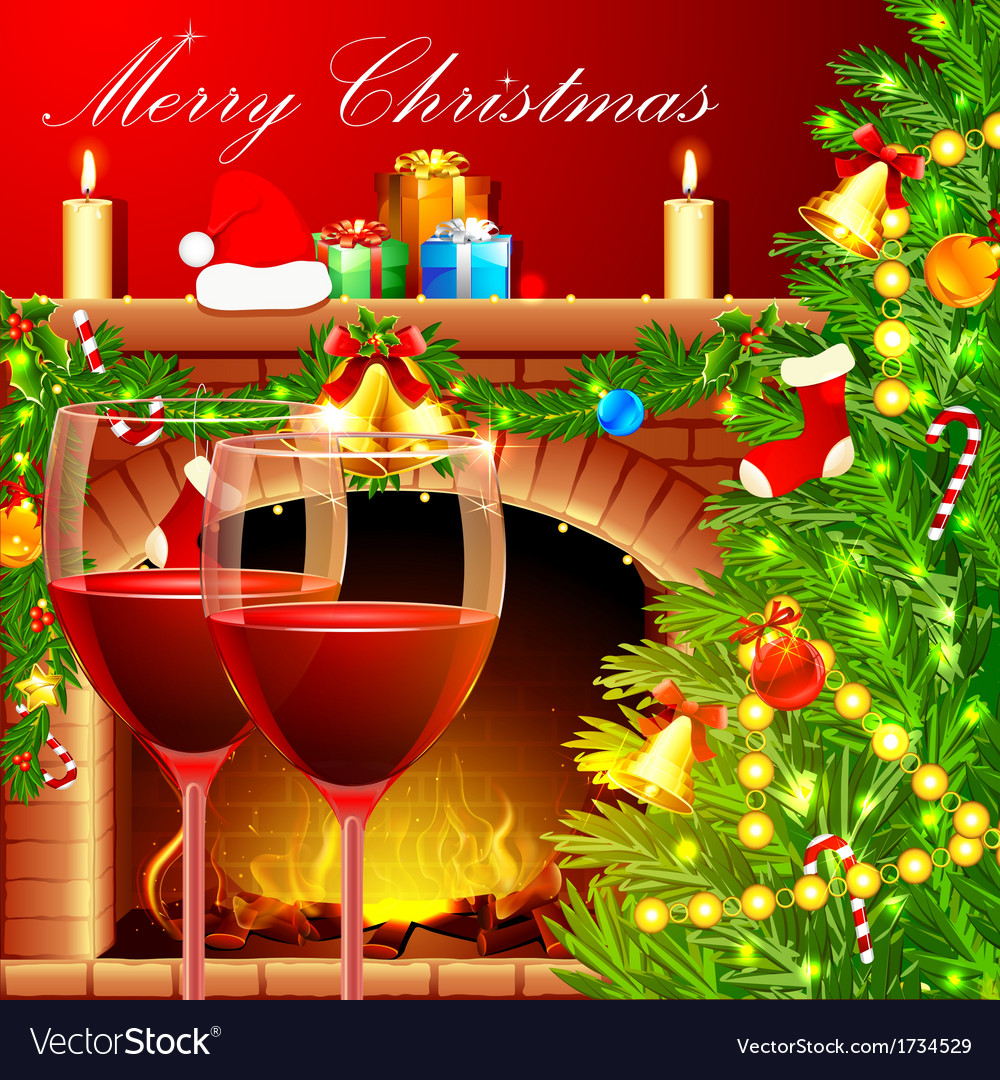 Christmas decoration with wine glass vector | Price: 3 Credit (USD $3)
