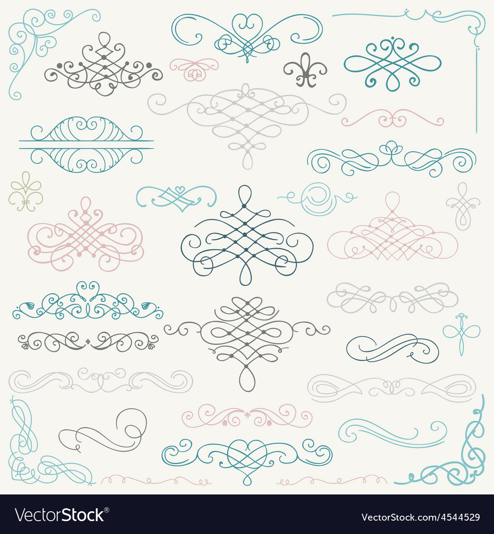 Colorful vintage hand drawn swirls vector | Price: 1 Credit (USD $1)