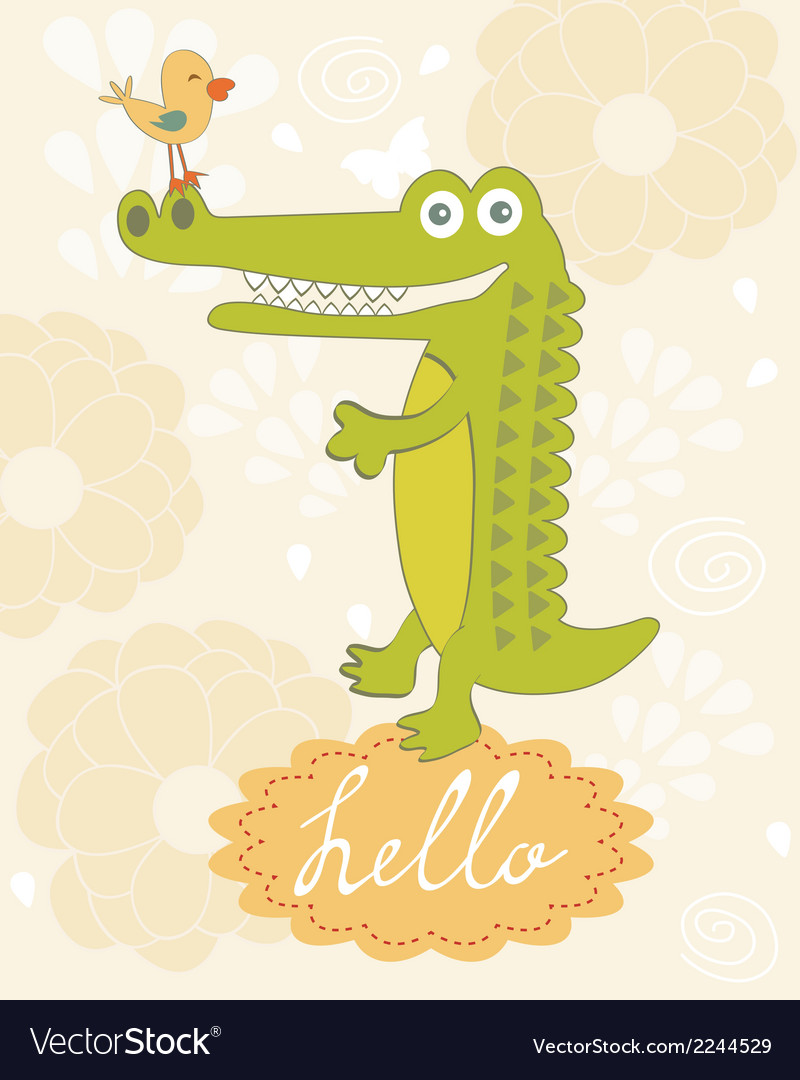 Cute hello card vector | Price: 1 Credit (USD $1)