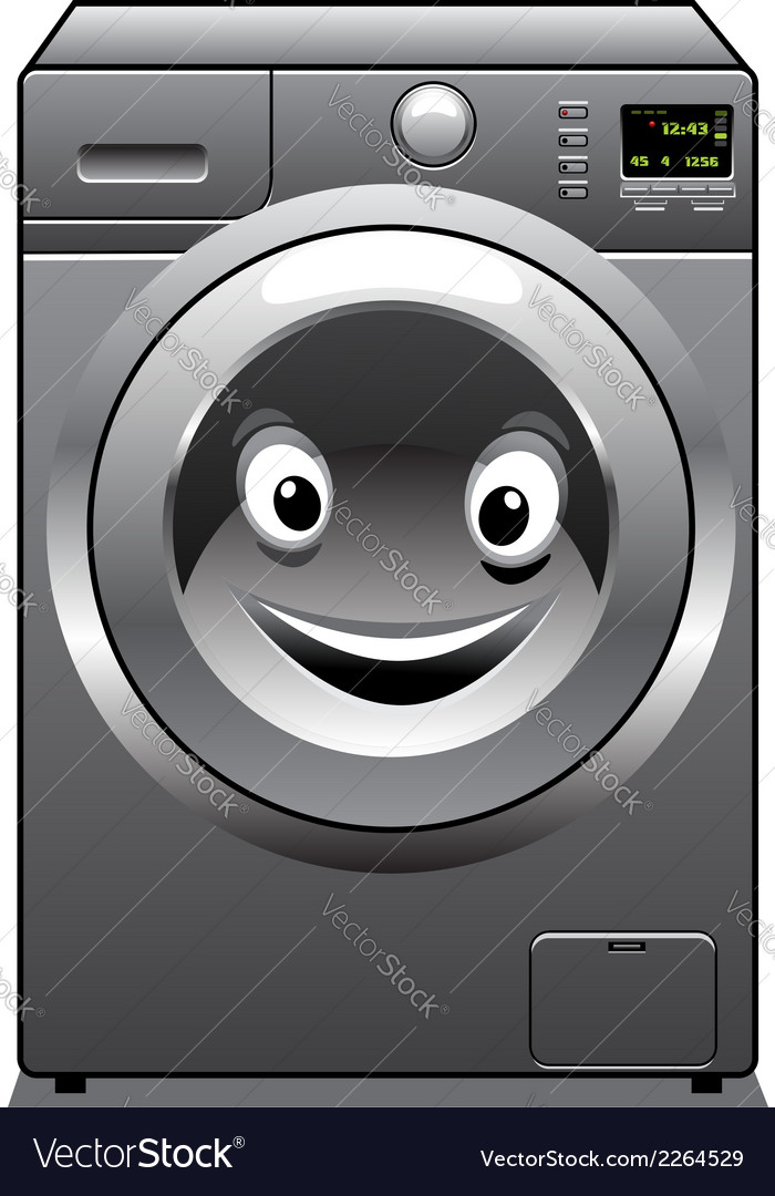 Cute silver washing machine with a happy face vector | Price: 1 Credit (USD $1)